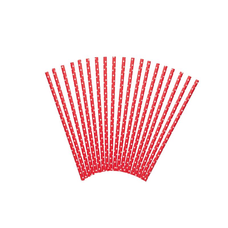 Słomki czerwone w grochy