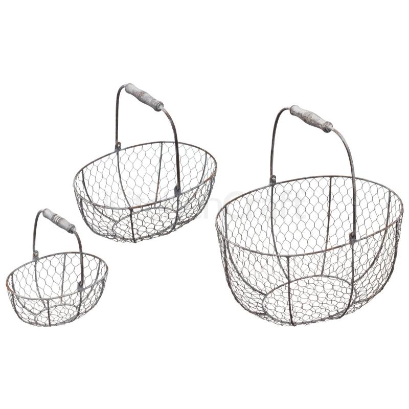 Zestaw drucianych koszyków (3 szt)