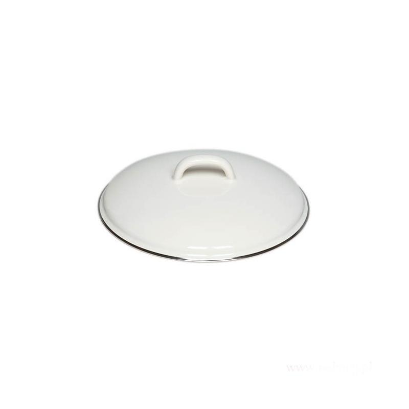 Emaliowana pokrywka biała 14cm Riess